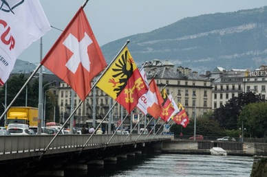 Flags on bridge in Geneva